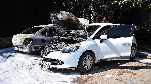 Park Halinde Alev Alan 2 Otomobil Yandı