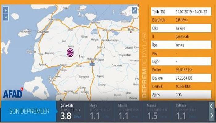 Yenice'de 3.8 Büyüklüğünde Deprem