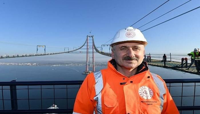 Bakan Karaismailoğlu, 1915 Çanakkale Köprüsü Kedi Yolunda Yürüyerek Asya'dan Avrupa'ya Geçti